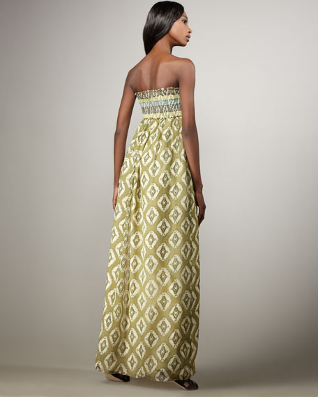 Strapless Beaded-Waist Maxi Dress
