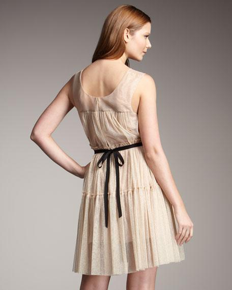 Tie-Waist Metallic Tulle Dress