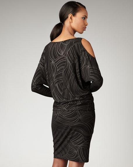 Long-Sleeve Cold-Shoulder Dress