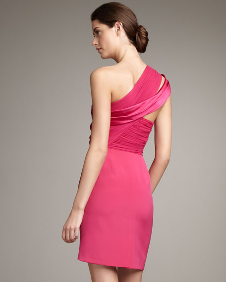 One-Shoulder Split-Sleeve Dress