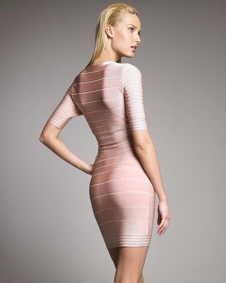 Zip-Front Bandage Dress, Rose Blush
