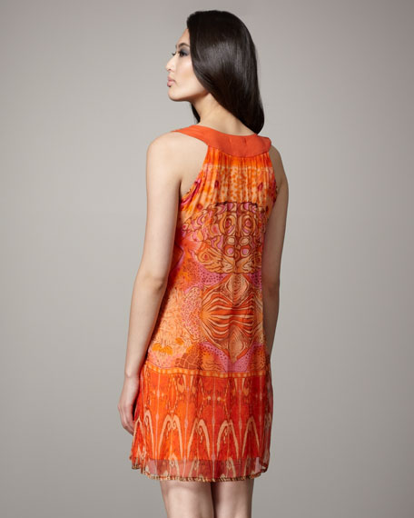 Printed Beaded-Neck Dress