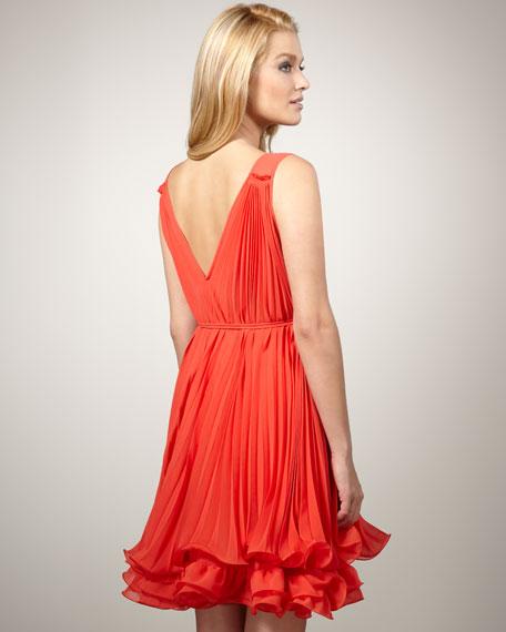 Flounce Plisse Dress