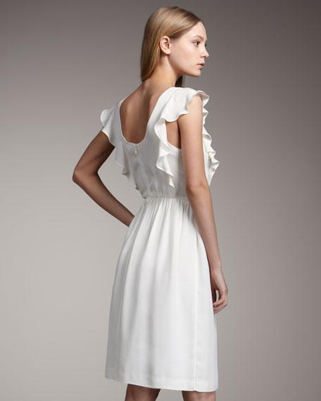 Silk Flutter-Sleeve Dress