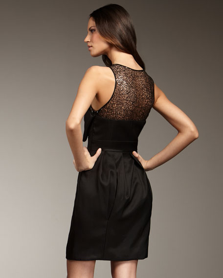 Sequin-Illusion Bow Dress