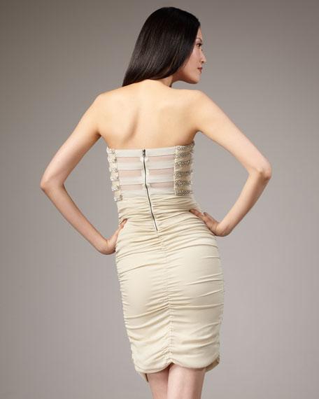 Sari Rhinestone-Stripe Dress