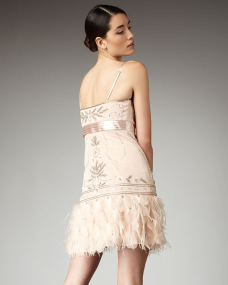 Feather-Bottom Beaded Dress