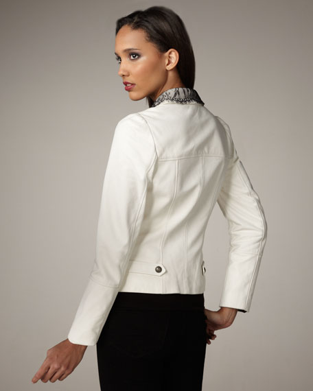 Lace-Trim Leather Jacket