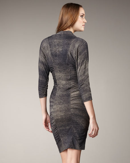 Ruched Cowl-Neck Dress