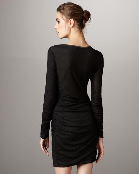 Drape-Neck Long-Sleeve Dress