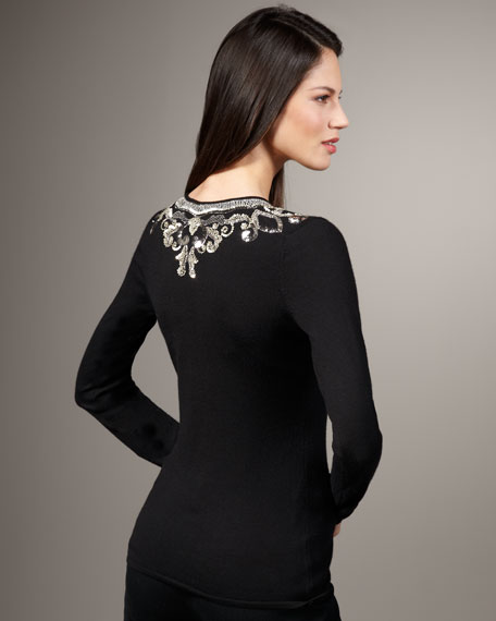 Embellished-Neck Sweater