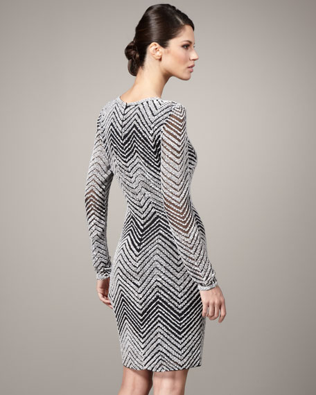 Chevron-Stripe Cocktail Dress