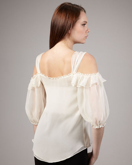 Lady's Secret Chiffon Top, Cream