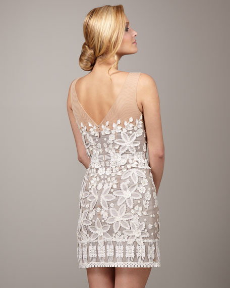 Illusion-Top Floral Dress