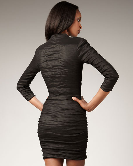 Sleeved Techno Metal Dress