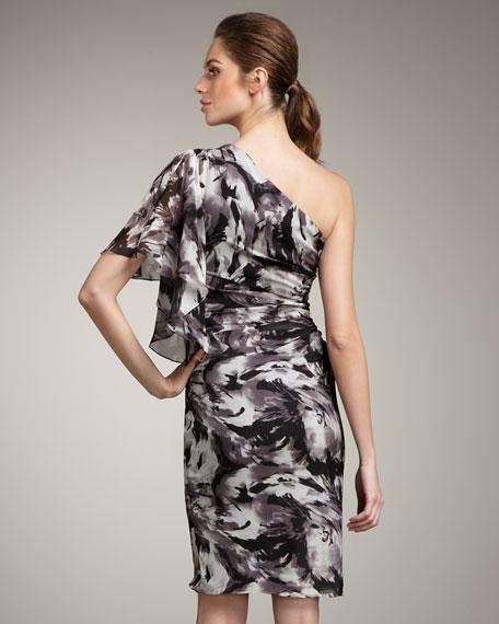 Printed Flutter-Sleeve Dress