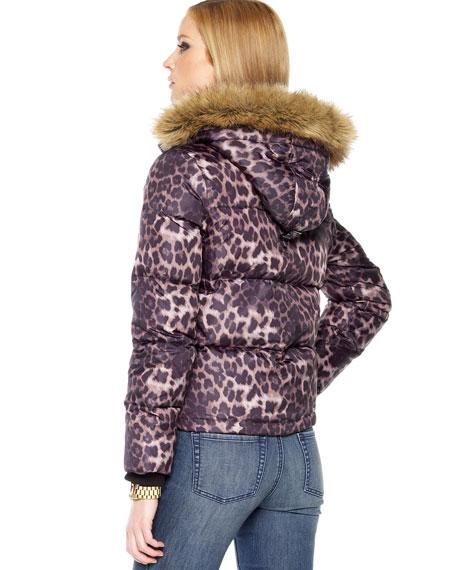 Leopard-Print Puffer Coat