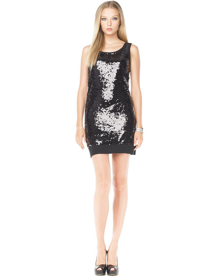 Sequin Dress with Neck Warmer