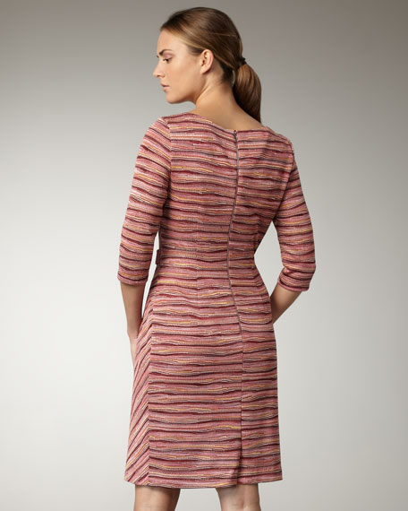Bias-Stripe Side-Gather Dress