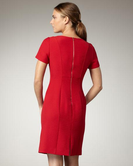 Fold-Neck Chain-Waist Dress