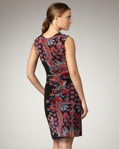Printed Cap-Sleeve Mesh Dress