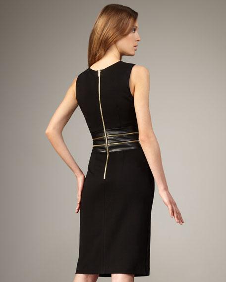 Sleeveless Zipper-Waist Dress