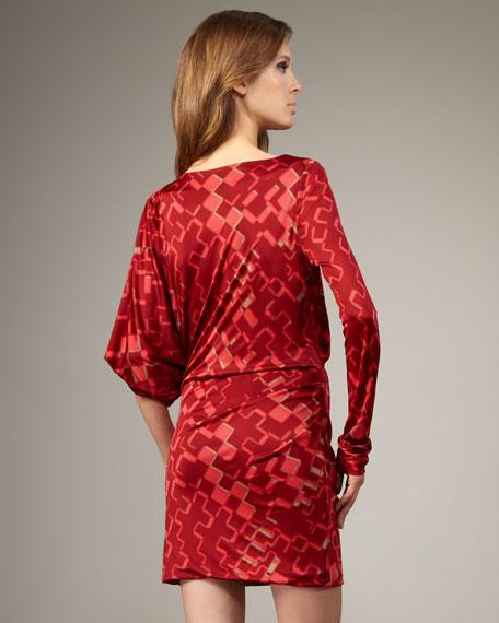 Asymmetric-Sleeve Printed Dress