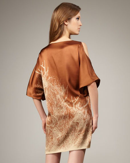 Deerwood-Print Silk Shift Dress