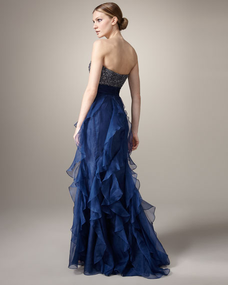 Beaded-Bodice Organza Gown