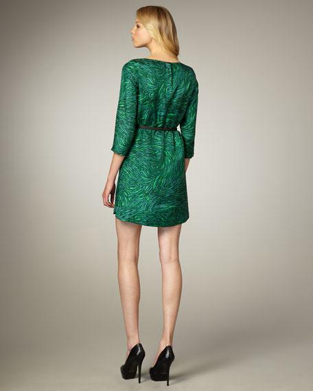 Swirl-Print Belted Shift Dress