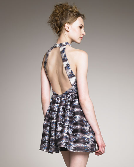 Pirouette-Print High-Neck Dress