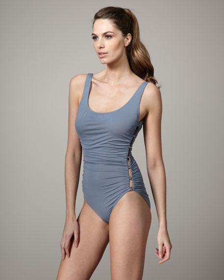 Side-Button Maillot, Gray