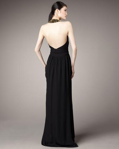 Beaded-Neck Halter Gown