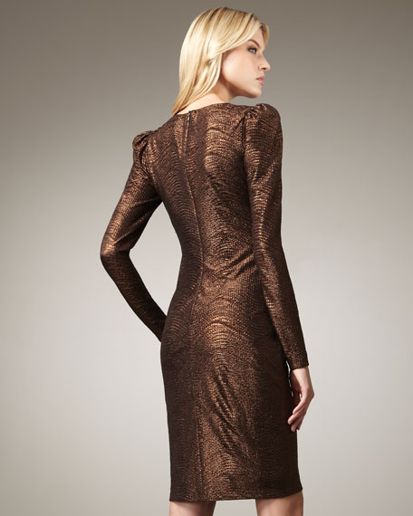 Pouf-Shoulder Matelasse Dress