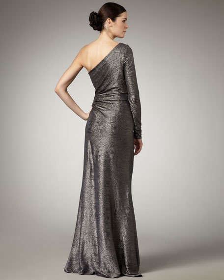 One-Sleeve Jacquard Gown