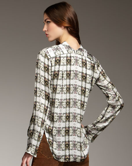 Printed Button-Front Blouse
