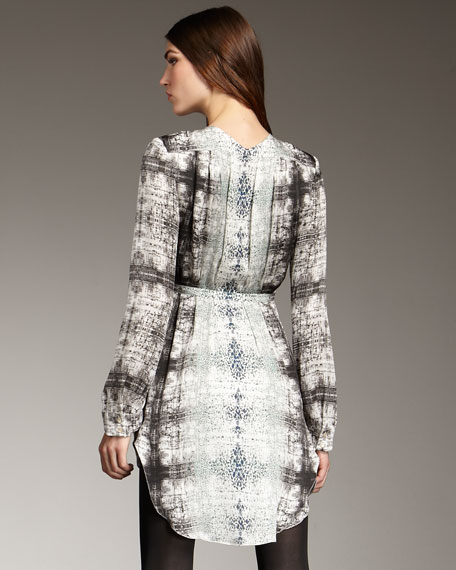 Printed Long-Sleeve Mini Dress