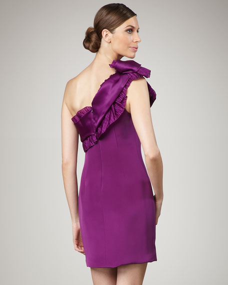 One-Shoulder Pleated Silk Dress