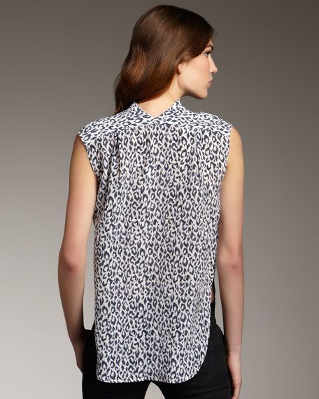 Leopard-Print Sleeveless Blouse