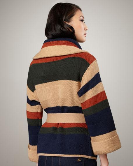 Babylon Striped Tie-Waist Sweater