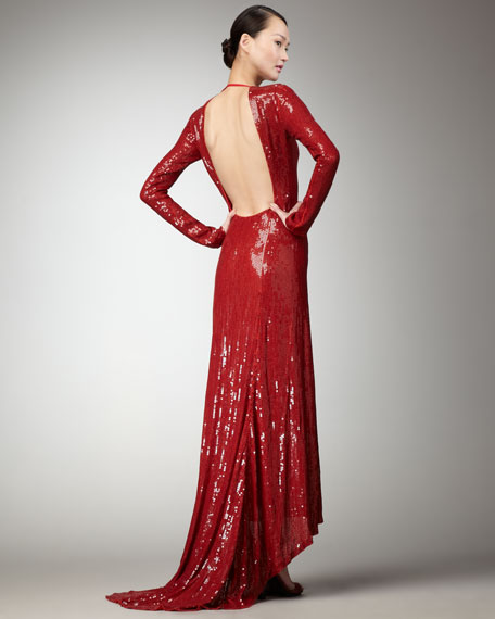 Sequined Open-Back Gown