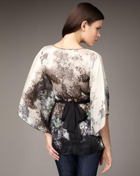 Forest-Print Kimono Top