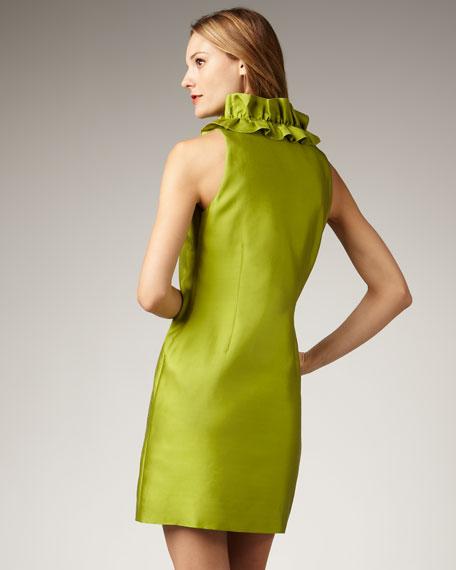 lucille ruffled-neck shift dress