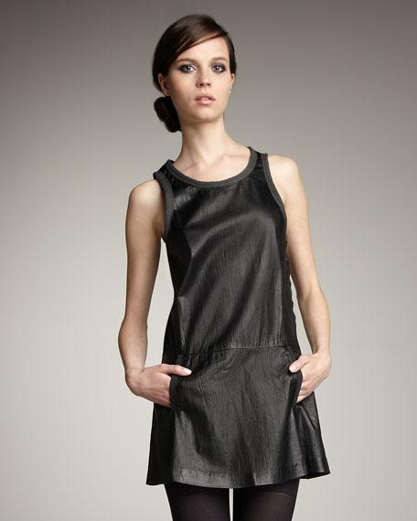 Sleeveless Crinkled Leather Dress