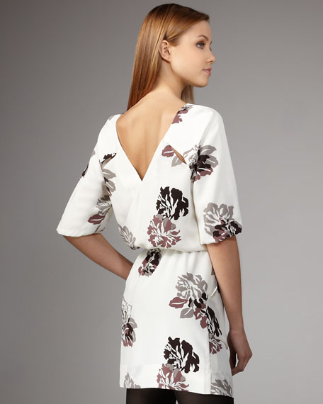 Washed-Silk Printed Dress