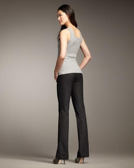 Michelle Black Denim Trousers, Women's