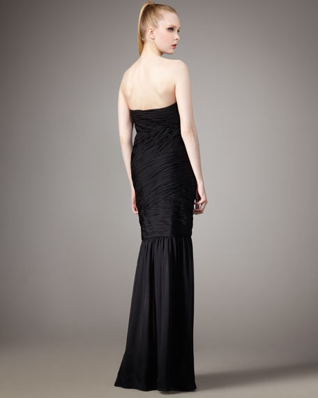 Ruched Strapless Gown