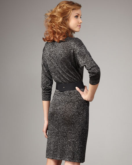 Metallic Belted Dress