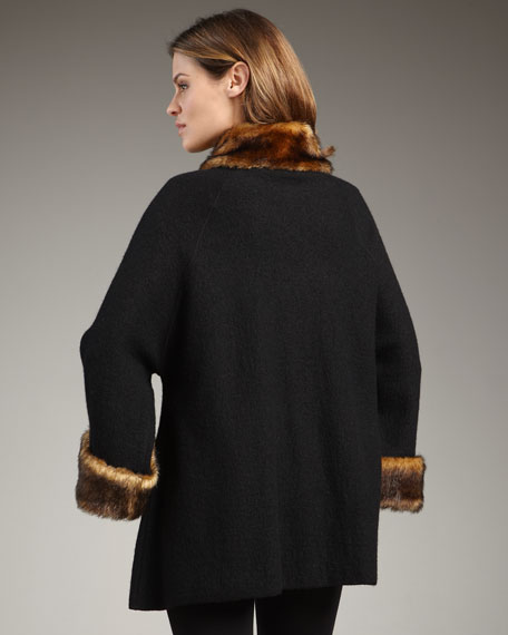 Faux-Fur-Trim Jacket