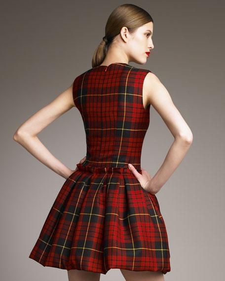 Tartan Pouf-Skirt Dress